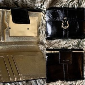 Kate Spade black patent leather buckle gold wallet